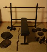 """Bench press set, weights, and 1"""" bars. in Wiesbaden, GE"""