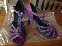 Women's Latin dance heel shoes, Purple/teal, size 7.5 to 8 US/38 EUR, BRAND NEW, new worn in Vacaville, California