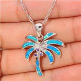 New - Blue Opal and Amethyst Coconut Palm Tree Necklace in Alamogordo, New Mexico