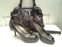 Worthington Gray Snakeskin Peep Toe Heels & Purse in Eglin AFB, Florida