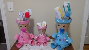 Hand made flower pot people in Camp Lejeune, North Carolina