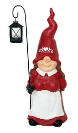 Gnome Woman with Solar LED Lantern in Ramstein, Germany