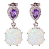 New - White Fire Opal and Amethyst Earrings in Alamogordo, New Mexico