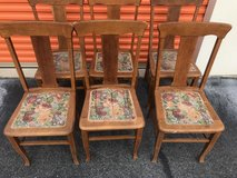 Antique 6 Qtr Sawn Oak T Back Chairs in Cherry Point, North Carolina