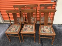 6 Qtr Sawn Oak T Back Chairs in Camp Lejeune, North Carolina