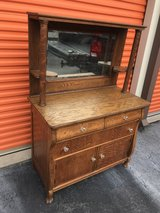 Antique Qtr Sawn Oak Sideboard W/Beveled Mirror Mantle Top in Cherry Point, North Carolina