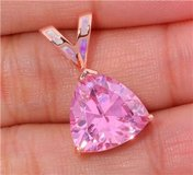 New - Pink Topaz and Pink Fire Opal Rose Gold Pendant (Includes a chain) in Alamogordo, New Mexico