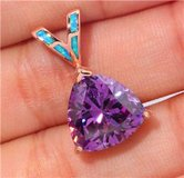 New - Amethyst and Blue Fire Opal Rose Gold Filled Pendant (Includes a phone) in Alamogordo, New Mexico