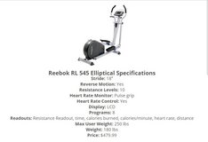 Reebok RL 545 Elliptical exercise machine in Camp Lejeune, North Carolina