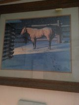 horse in snow picture matted w original wood frame in Alamogordo, New Mexico
