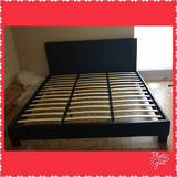 King Size Black Leather Bed in CyFair, Texas