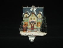 Santa's Workshop Ceramic Mantel Stocking Holder Lighted & Musical in Bolingbrook, Illinois