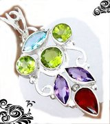 New - Natural Garnet, Peridot Amethyst and Blue Topaz 925 Sterling Silver Pendant (Includes a ch... in Alamogordo, New Mexico