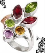 New - Garnet, Peridot, Amethyst and Citrine 925 Sterling Silver Ring - Size 6.5 in Alamogordo, New Mexico