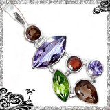 New - Natural Amethyst, Smoky Topaz, Garnet and Peridot 925 Sterling Silver Pendant (Chain inclu... in Alamogordo, New Mexico