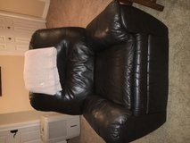 Leather sofa sectional and recliner, dark chocolate in Naperville, Illinois