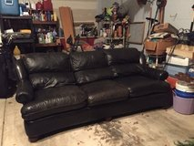 Black Leather Couch, Recline & Coffee Table for Sale in Bartlett, Illinois