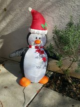 Holiday inflatable penguin in Fairfield, California