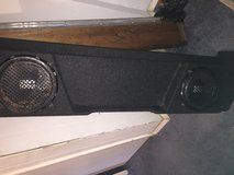"Alpine baseline 10"" subs and alpine amp in costom box to fit under back seat ex cab chevy in Fort Leonard Wood, Missouri"