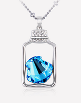 Flasket Ocean Blue Crystal Necklace in Barstow, California