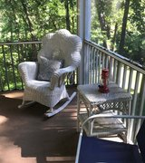 White Wicker Rocking Chair with Side Table in Fort Leonard Wood, Missouri