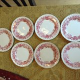 Vintage (c.1960s) and RARE! Wedgwood Bramble Pink plate. Pink | red transferware florals, emboss... in Beaufort, South Carolina