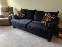 Black microsuede couch in Bartlett, Illinois