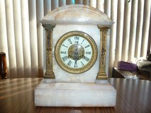 Antique 1855 French Vincenti Medaille Marble Gilt Bronze Clock porcelain dial in Joliet, Illinois