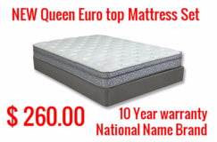 Year End  Inventory Liquidation Sale !!! New Queen Euro Mattress Sets 260.00 ,5 Piece Cherry Bed... in Cherry Point, North Carolina