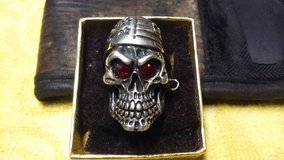 CHRISTMAS SALE !!!  MENS  PATRIOTIC  BIKER  SKULL RING (  STERLING SILVER  w  GARNET  EYES !!! in Fort Leonard Wood, Missouri