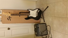 Squier electric guitar and Fender 15g amp in Oceanside, California