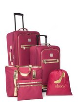 REDUCED**BEAUTIFUL BRAND NEW***5 Piece Berry Colored W/Croc Trim Luggage Set*** in Houston, Texas