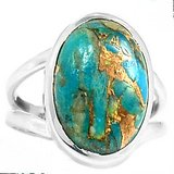 New -  Blue Copper Turquoise 925 Sterling Silver Ring - Size 5.5 in Alamogordo, New Mexico