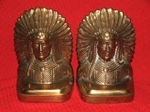 American Indian Chief in Full Ceremonial Headdress Brass Bookends ~ Impressive in Naperville, Illinois