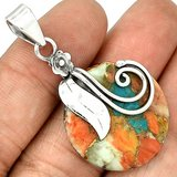 """New - Spiny Oyster & Arizona Turquoise 925 Sterling Silver 1 7/8""""  Pendant (Includes a chain) in Alamogordo, New Mexico"""