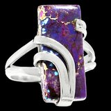 New - Purple Copper Turquoise 925 Sterling Silver Ring - Size 9 in Alamogordo, New Mexico