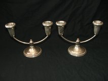 Vintage EMPIRE weighted Sterling Silver 2-Arm Candlestick Holders (Pair)  # 332 in Glendale Heights, Illinois