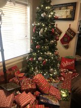 7.5 ft Artificial Christmas tree with rotating stand and storage bag in Fort Polk, Louisiana