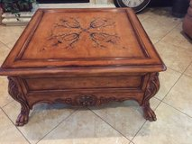 Large coffee table with Two end tables with matching mirror in The Woodlands, Texas