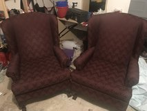 Two maroon accent chairs in Katy, Texas