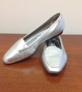 Women's Metallic Silver Leather Flats in Valdosta, Georgia