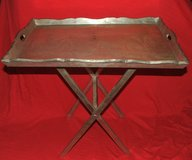 Vintage Serving Tray / Stand Etched Mountain Home Scene Tin & Wood in St. Charles, Illinois