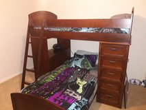Bunk bed with desk and drawers/display shelves in Spring, Texas
