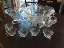 Vintage Heavy crystal PUNCH BOWL WITH CUPS in Travis AFB, California