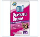 Dog Diapers-Out! XS/S Disposable Diapers 16 Ct 4 lbs - 15 lbs Adjustable Urination Heat Wetness in Kingwood, Texas