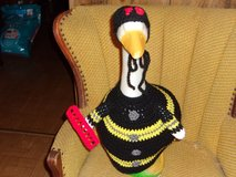 Fireman Geese Goose Outfit Crochet Outdoor and Garden Statue Decor in St. Louis, Missouri