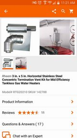 Rheem vent kit for tank less hot water heater in Naperville, Illinois