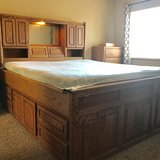 Solid Oak Cal King bed w/2 dressers in Vacaville, California