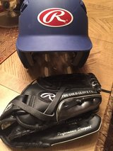 Boys Baseball Helmet & glove in Baytown, Texas