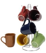 Gibson Home  Cafe Amaretto Assorted Colors 15 oz. Mug Set (Set of 6) in Joliet, Illinois